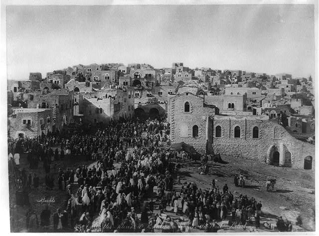 Christmas in Bethlehem, 1875, pilgrims heading up to worship at the Church of the Nativity.