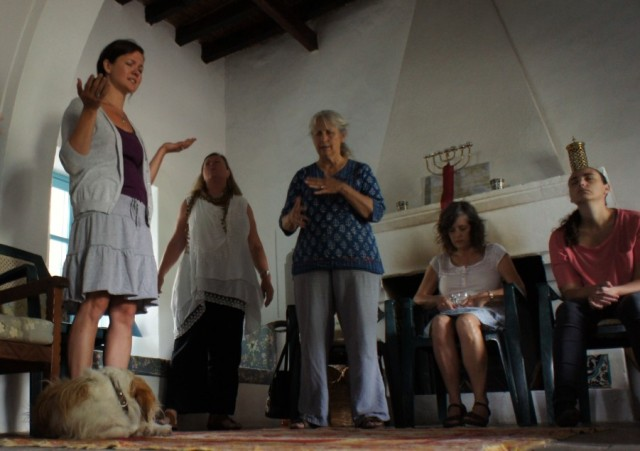 In the prayer room with friends in Cyprus, including Rosie the dog.