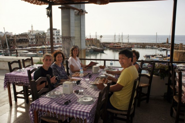 At dinner overlooking the ancient harbor in Girne with the Kiwi's