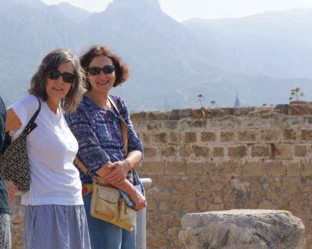 Kim and Julee at the castle in Girne, with the mountains separating north and south Cyprus in the background.